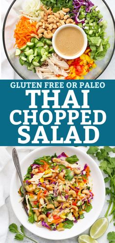 Thai Chopped Salad - This fresh chopped salad is loaded with colorful, crunchy veggies, bright vinaigrette & a creamy peanut or cashew drizzle. Salmon Salad Recipes, Chicken Salad Recipes, Healthy Salad Recipes, Paleo Recipes, Chopped Salad Recipes, Avocado Recipes, Meat Recipes, Free Recipes, Main Dish Salads