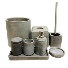 new cement polyresin soap dish toothbrush holder customized concrete bathroom accessory sets