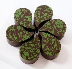 Teardrop Bon Bons in Floral Scroll - Transfer Sheets for Chocolate - http://americanchocolatedesigns.com/transfer_sheets.php
