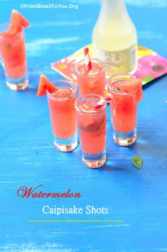 Watermelon Caipisake Shots -- A refreshing Brazilian-Japanese CAIPIRINHA variation...