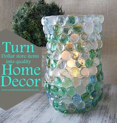 Turn Dollar Store Items Into Great Decor-Use glass gems in Betta Bowls. Match gems with the color of your Betta fish! Gem Crafts, Decor Crafts, Crafts To Make, Craft Gifts, Diy Gifts, Diy Projects To Try, Craft Projects, Craft Ideas, Do It Yourself Organization