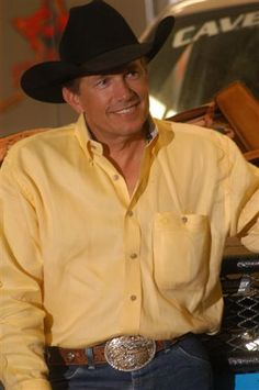 Picture of George Strait ~~~~ He is so dang handsome and wearing my favorite color!!