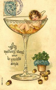 A charming French vintage New Year's card. #vintage #New_Years #card