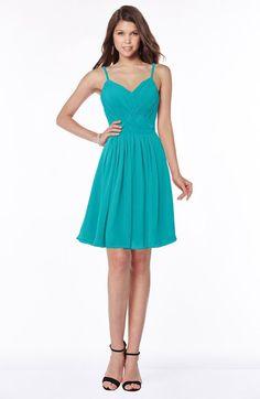 0adb9d5a46 ColsBM Vera Teal Modest A-line Sleeveless Zip up Knee Length Ruching Bridesmaid  Dresses Short