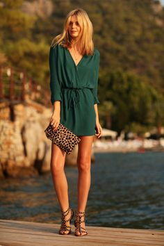 Wearing: Mango dress, Clare V clutch, Sam Edelman sandals, Elephant necklace from Brooklyn Flea...