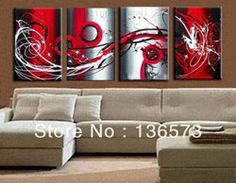 Online Shop Hand Painted 4 Piece Set Grey White Black and Red Passion Large Wall Painting On Canvas Monder Abstract Oil Art Home Decoration|Aliexpress Mobile