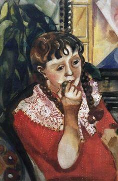 Portrait of sister Maryasinka 1914 - by Marc Chagall