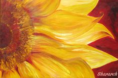 Sunflower canvas print - flower painting - yellow and red flowers art print from original acrylic painting -Mother's Day gift home decor