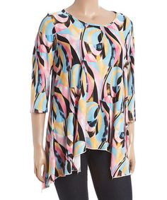Look what I found on #zulily! Pink & Mint Abstract Asymmetric-Hem Tunic - Plus #zulilyfinds