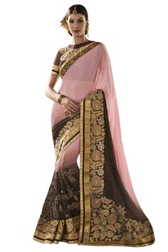 Buy Now Peach-Brown Fancy Embroidery Net Georgette Half-Half Wedding Wear Saree only at Lalgulal.com. Price :- 4,632/- inr. To Order :- http://goo.gl/eK4ACu COD & Free Shipping Available only in India