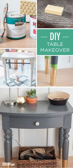 It's amazing what a fresh coat of gray BEHR Paint can do. @esooter takes a vintage table and transforms it into a trendy DIY furniture piece with metallic gold details. Add this painted furniture idea to your project list for a fun and easy update. #TrueToHue