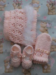 Knitting Pattern - DK - Swansdown Bonnet, Mittens & Shoes Set