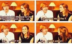 Interview :) He's talking about the seat on the broomstick he used to film.