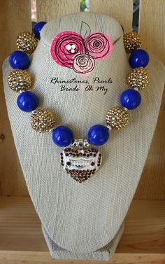 Chunky Football Necklace Bubble Gum Beads Superbowl Party Football Fan