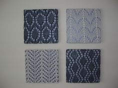 Decorating idea: Knitted lace swatches as wall art from my knitter friend hrvdmnky. Crochet Wall Art, Knit Art, Knitting Room, Knitting Yarn, Framed Fabric, Fabric Wall Art, Knitting Projects, Crochet Projects, Lace Knitting Patterns