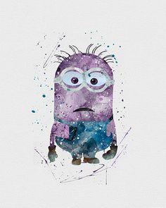 Purple Minion Watercolor Art