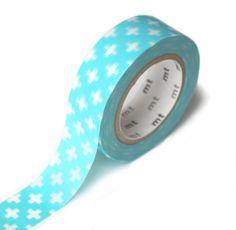 MT washi tape: kruis licht blauw