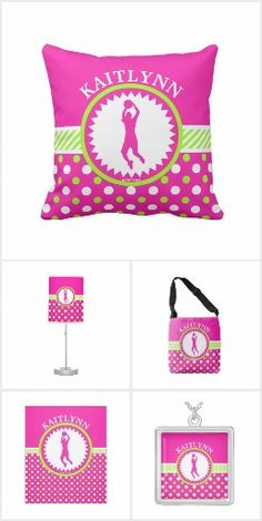 Golly Girls - Pink and Green Polka-Dots Basketball Collection - throw pillows, tote bags, blankets, iPhone cases, and more!