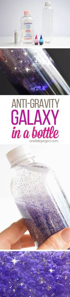 Science-space Art This anti-gravity galaxy in a bottle is such a FUN PROJECT to try with the kids! The glitter actually rises to the top, instead of settling to the… Science Projects, Projects For Kids, Diy For Kids, Craft Projects, Science Experiments, Kids Fun, Glitter Projects, Galaxy Projects, Glitter Crafts