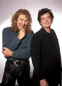 Photo of PAGE & PLANT and Jimmy PAGE and Robert PLANT and LED ZEPPELIN; Page & Plant - L-R: Robert Plant and Jimmy Page of Led Zeppelin - posed, studio