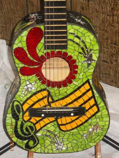 stained glass mosaic guitars | Notable' Mosaic Guitar - Delphi Stained Glass