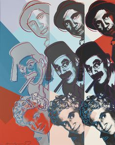 "Marx Brothers 232 by Andy Warhol Warhol created this print in 1980 as part of the series ""Ten Portraits of Jews of the Twentieth Century""."