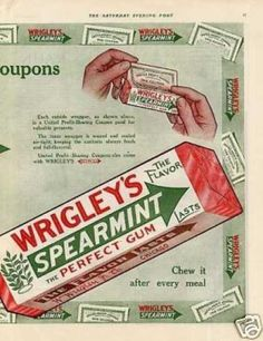 Wrigley's Spearmint Chewing Gum Ad Centerfold (1914)