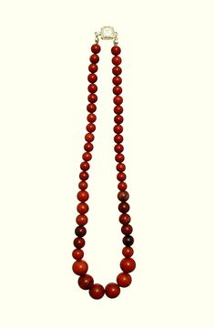 Red Round Picture Jasper Necklace - Handmade - Natural Stones - Jewelry - FREE SHIPPING de ArtGemStones en Etsy