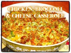 This will be a family favorite!!!!    CHICKEN, BROCCOLI & CHEESE CASSEROLE    ingredients:   1 1/2 pounds of chicken (tenderloins are easiest)  a box or bag of stove top stuffing (i usually have half the stuffing left for the next time i cook this)  1 can of cream of chicken soup  1 can of cream of mushroom soup  ~(you can use any kind of soup  as long as you use two cans)  1 bag, or two bundles, fresh or frozen broccoli  1 cups of cheese ( or more if you love cheese)  2tbs. real butter  S&P…