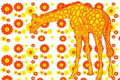 Items similar to Giraffe Flowers POP Art Print by Giraffes and Robots on Etsy Robot Art, Robots, Yellow Art, Giraffes, Make You Smile, Giclee Print, Color Pop, Pop Art, Gift Wrapping
