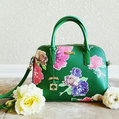 """Brand new! Kate Spade Brightwater Dr. Sm Rachelle Brand new! From Kate Spade's new spring collection- Just released! Absolutely gorgeous, NWT Kate Spade Brightwater Drive Small Rachelle in """"Spring Bloom,"""" a beautiful kelly green leather with adorable pink and blue florals. kate spade Bags Satchels"""