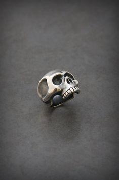 Lost wax cast sterling silver skull ring.