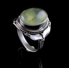 PREHNITE NATURAL GEMSTONE HANDMADE MENS RING SIZE 8.75 925 STERLING SILVER R212 #Unbranded