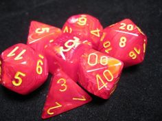 FRP GAMES - PRODUCT - Chessex RPG Dice Sets: Vortex Red w/Yellow Polyhedral 7-Die Set