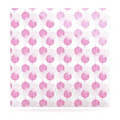 "Apple Kaur Designs ""Wild Dandelions"" Pink Gray Luxe Square Panel"