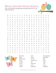 Printable Bridal Shower Word Search