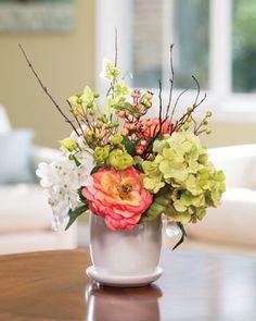 Hydrangea, Rose & Berry<br>Silk Flower Centerpiece