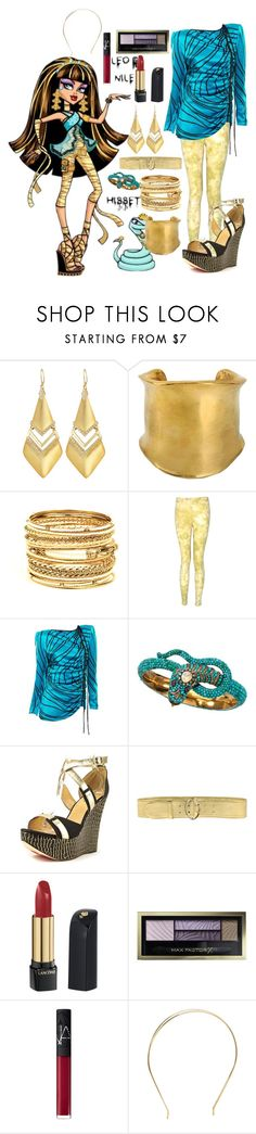"""""""Monster High: Cleo de Nile"""" by dancearden ❤ liked on Polyvore featuring Alexis Bittar, Emilio Pucci, Amrita Singh, Valentino, Luichiny, Prada, Lancôme, Max Factor and NARS Cosmetics"""
