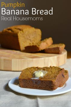 Pumpkin Banana Bread: warms you up on the cold fall days. This pumpkin banana bread has all of that and more. like pumpkin and banana. I love banana bread with warm butter. Made with coconut oil, and sweetened with honey. Banana Recipes, Pumpkin Recipes, Fall Recipes, Just Desserts, Delicious Desserts, Dessert Recipes, Yummy Food, Fudge, Pumpkin Banana Bread