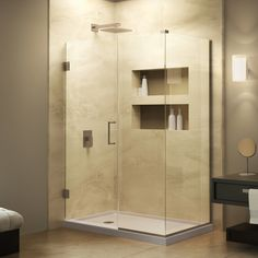 Buy the DreamLine Oil Rubbed Bronze Direct. Shop for the DreamLine Oil Rubbed Bronze Unidoor Plus 60 in. W x 34 in. D x 72 in. H Hinged Shower Enclosure, Half Frosted Glass Door, Satin Black Hardware Finish and save. Corner Shower Enclosures, Frameless Shower Enclosures, Frameless Shower Doors, Bronze Huilé, Bronze Finish, Nickel Finish, Chrome Finish, Dreamline Shower, Bath