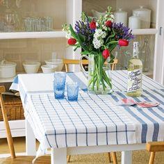 la decoración de mis mesas: ♥ Ideas para la mesa: Mantel con paños de cocina.