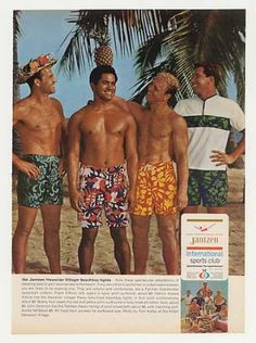 bae2d7b7b9 Frank Gifford Jantzen Hawaiian Beachboy Tights (1966) Waikiki Beach, Old  Ads, Vintage