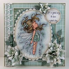 Featuring 'Mistletoe Fairy' from Wee Stamps.   #WeeStamps #WhimsyStamps #crafts #cards #DIY #handmadecard #cardmaking #rubberstamping #promarkers #paperflowers