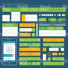 フラットスタイルの UI UX デザイン/ ロイヤリティフリーのイラスト素材