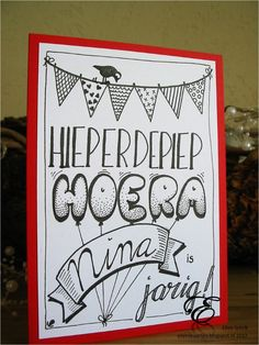 Handlettering on birthday card.