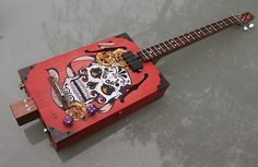Handpainted sugar skull guitar