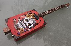 Handpainted sugar skull guitar
