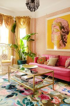 "This Colorful San Francisco House Is Like a ""Victorian on Ac. - This Colorful San Francisco House Is Like a ""Victorian on Acid"" This Colorful San Francisco Ho - Living Room Designs, Living Room Decor, Bedroom Decor, Living Spaces, Small Living, Modern Living, Design Bedroom, Colorful Interior Design, Colorful Interiors"