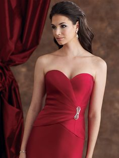 Catching Red Mermaid Sweetheart Ruched Stones Pin Floor Length Satin Mother of Groom Dresses ,Mother of Bride Dresses,