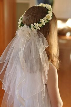 First Communion Veil with White flowers and Veil.